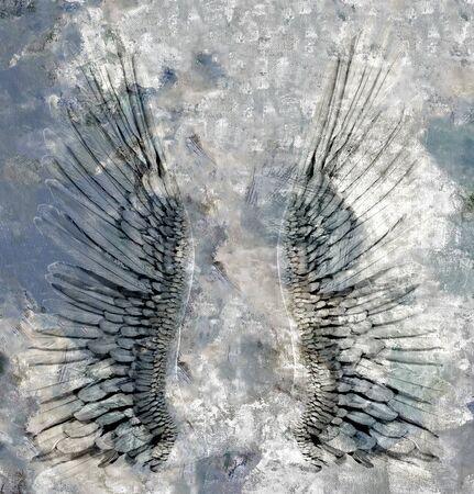 Dark art in black and white. Angels wings