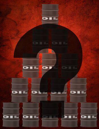 Barrels of oil. Question sign. 3D rendering