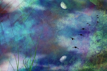 Painterly marsh landscape under moon and flying birds. 3D rendering
