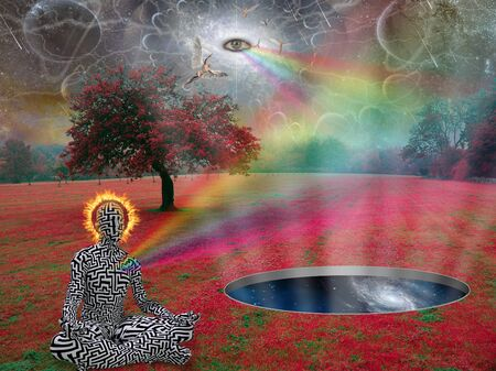 Spiritual composition. Man meditates in lotus pose in surreal landscape