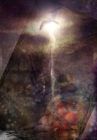 Spiritual abstract in sepia colors. Bird of light 版權商用圖片