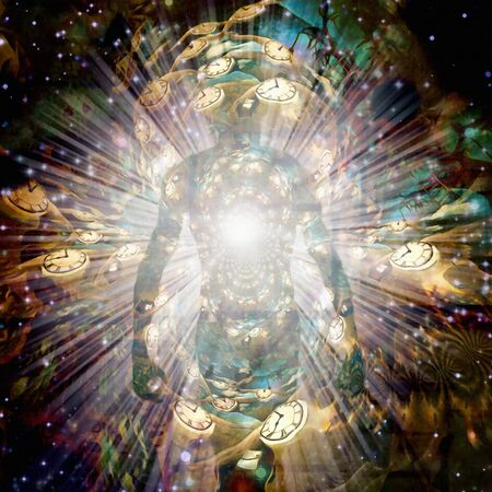 Shining aura and rays of light. Winged clocks represents flow of time