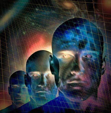 Surrealism. Mens faces. Universe on a backgroud 版權商用圖片