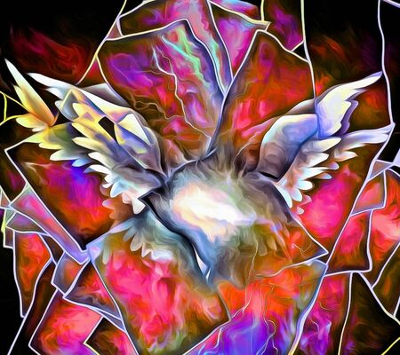 White Wings. Abstract painting.
