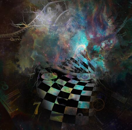 Surrealism. Womans face with checkered pattern in vivid universe. Spirals of time