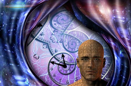 Surrealism. Spirals of time and warped space. Mans head with puzzle pattern 版權商用圖片