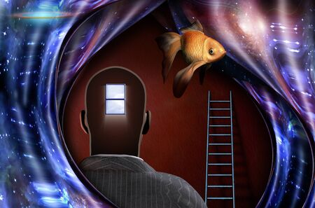 Surrealism. Mans head with open window to another world. Ladder. Warped space. Golden fish