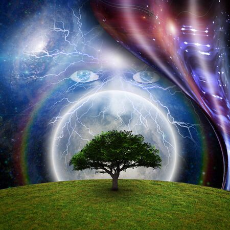 Mystic face before full moon, green tree and warped space. 3D rendering