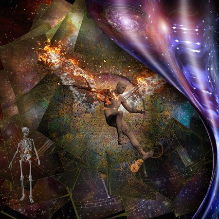 Surrealism. Naked man with burning wings symbolizes falling angel. Skeleton symbolizes death 版權商用圖片
