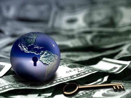 Globe with keyhole and key on US dollars