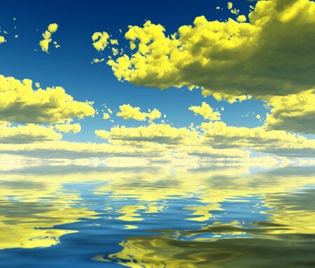 Surreal digital art. Yellow clouds reflected in the water surface 版權商用圖片