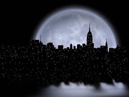 NYC skyline and full moon. 3D Rendering