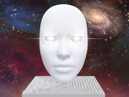 Cara blanca con ojos brillantes. Laberinto en espacio abierto