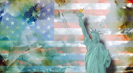 Digital painting. Statue of Liberty 版權商用圖片
