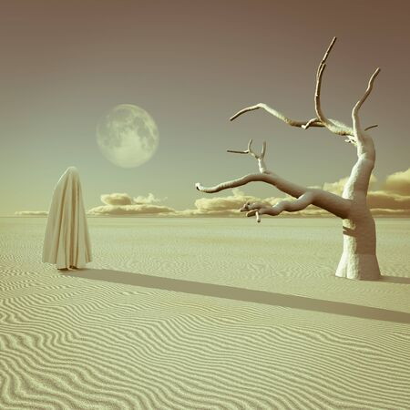 Figure covered by cloth in surreal desert