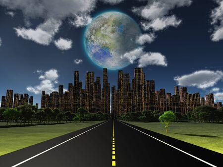 Night roadway to future city. Terraformed moon in the sky. 3D rendering 版權商用圖片