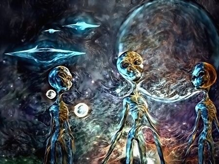 Colorful sci - fi painting. Three aliens. Flying saucers in the sky 版權商用圖片