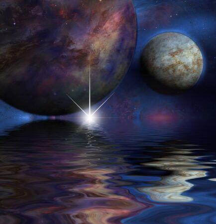 Exosolar planets rise over alien ocean 版權商用圖片
