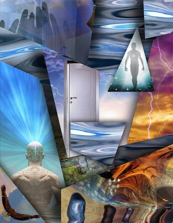 Spiritual layered composition. The power of imagination