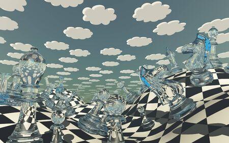 Chessboard Fantasy Landscape. 3D rendering