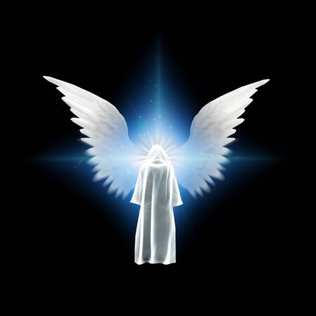Surreal digital art. Figure in white cloak stands before bright light with angel's wings