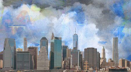 NYC Landscape. Manhattan skyline on painted canvas. Pastel colors