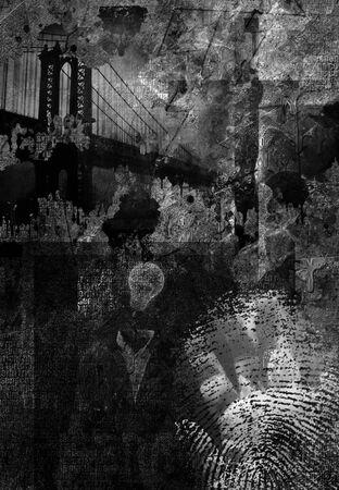 Modern art. Manhattan bridge. Grunge style Stock Photo