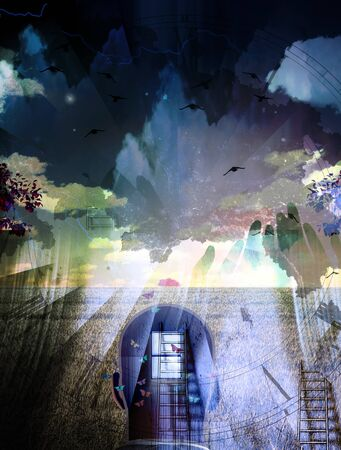 Surreal composition. Man with window in head. Ladders and human hands silhouette. Birds in the sky 3D rendering