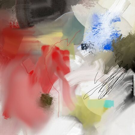 Abstract painting in red, black and yellow colors 版權商用圖片