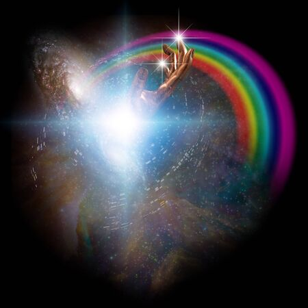 Surreal digital art. Bright galaxies and rainbow in vivid universe. Hand of God and bird's silhouette Archivio Fotografico