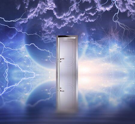 Doorway before cosmic sky. Mystic planet 版權商用圖片