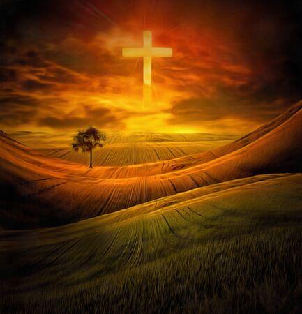 Spiritual painting in vivid colors. Cross of light in the sky 版權商用圖片