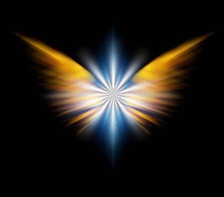 Angels wings. Bright Star. 3D rendering