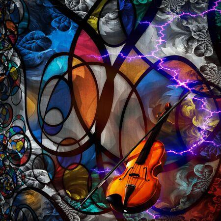 Violin. Modern Art Composition 版權商用圖片