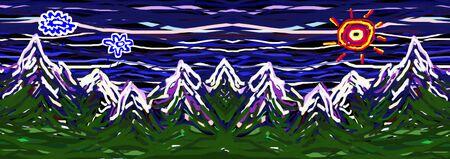Childs Painting. Mountains Landscape. Childish imagination