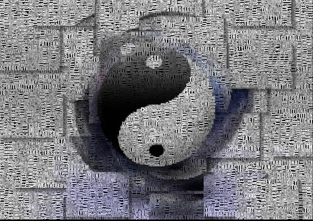 Yin Yang sign. Words