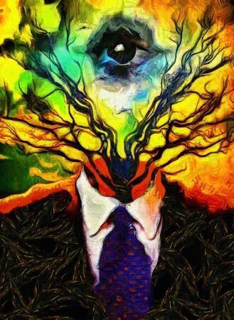 Surreal painting. Man's figure in a suit with tree branches and all-seeing eye instead of head