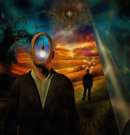 Surreal painting. Man in suit with empty head. Old tree with light bulb and ladder on a branch. Gods eye in the sky. Businessman with light bulbs around his head stands in the field