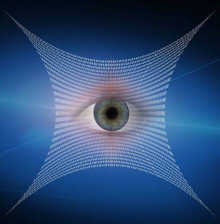 Eye and web composed of binary code Фото со стока