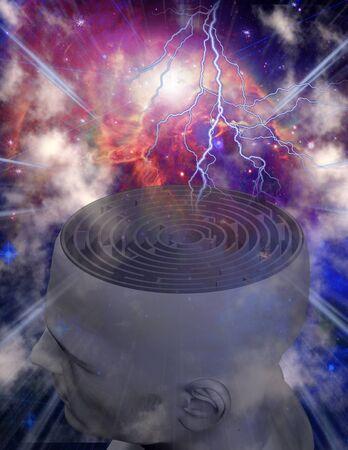 Mind Maze. Labyrint inside man head Фото со стока