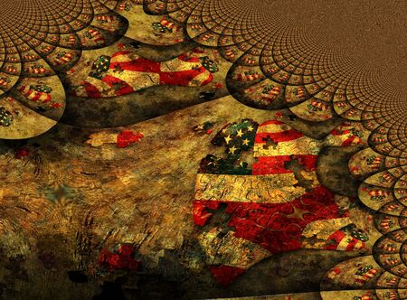 American Heart Puzzle. Abstract fractal