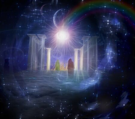 Mystic temple in spiritually based composition