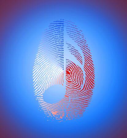 Music Note Silhouette in Fingerprint
