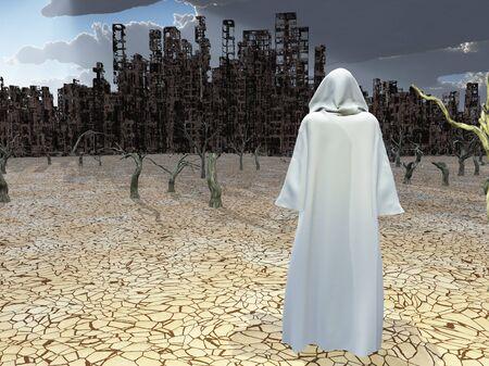 Traveler before the destroyed city. 3D rendering Banco de Imagens