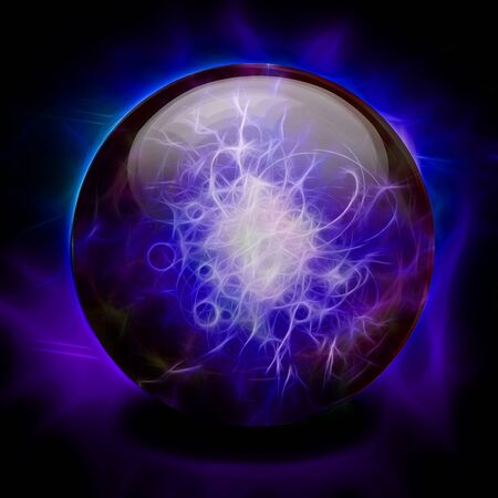 Boule de cristal. Couleurs violet vif - bleu