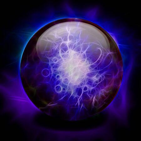 Kristallkugel. Kräftiges Lila - blaue Farben