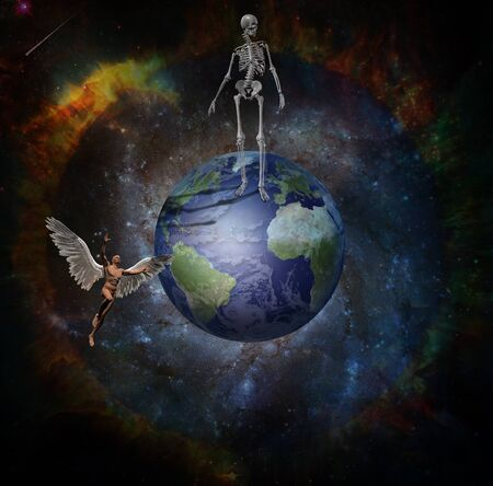 Angel flies in space near the Earth. Skeleton is standing on the planet. Life and death Stock fotó - 129407140