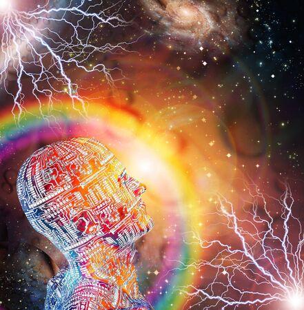 Cyborg man in vivid space