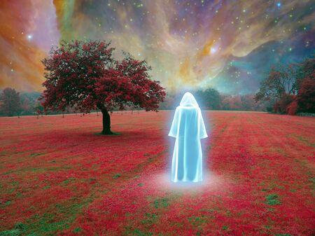 White Monk in vivid surreal landscape