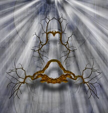 Abstract roots in rays of light on mystic background Imagens
